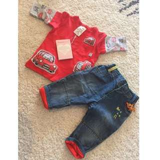 Mother Care Baby jeans 3-6M & Red tshirt 3-6M