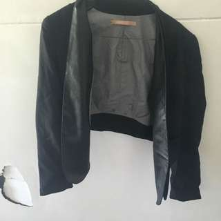 Cooper Street Crop Black Jacket With Leather Detail