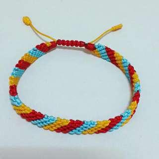 3色斜邊編織手鍊