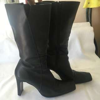 Black Leather Boots - Size 38/ 7
