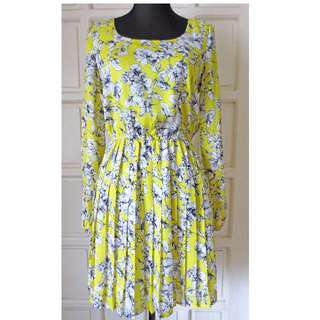FOREVER 21 ESSENTIALS LS Sketched Florals Dress Used 1x