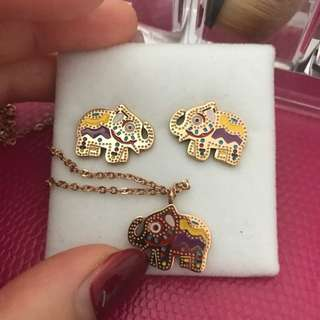 14k Plated gold Elephant Necklace &earrings