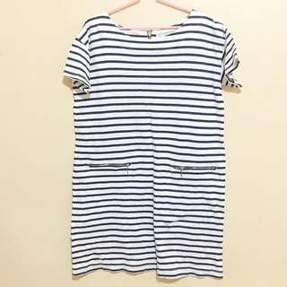 White and dark blue stripes dress