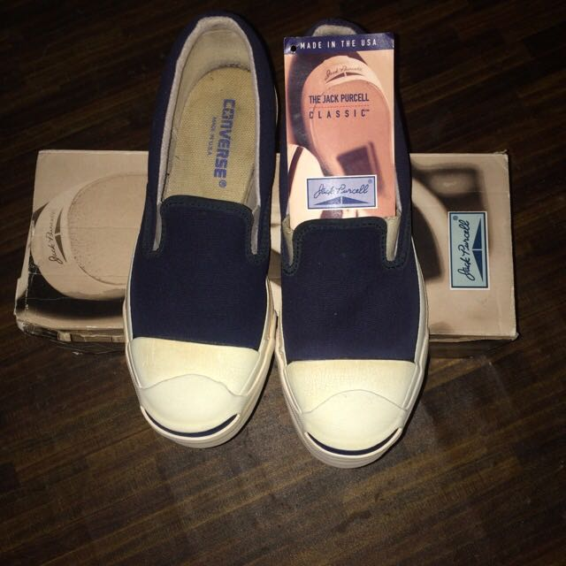 f7c13f7879c8 80 s Vintage Converse Jack Purcell Slip On Navy Original Made In Usa ...