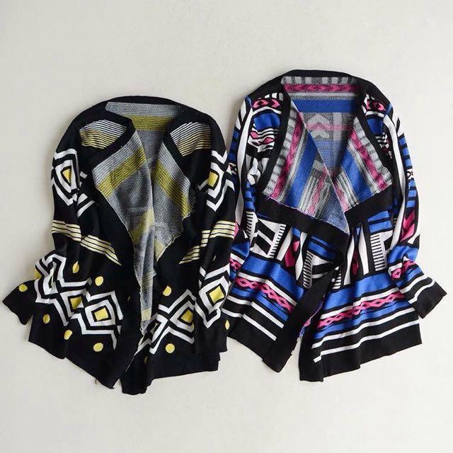 歐美時尚幾何不規則毛線針織開衫