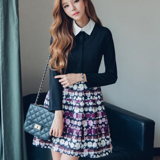 秋冬繡花裙襬襯衫領甜美公主中長款洋裝裙