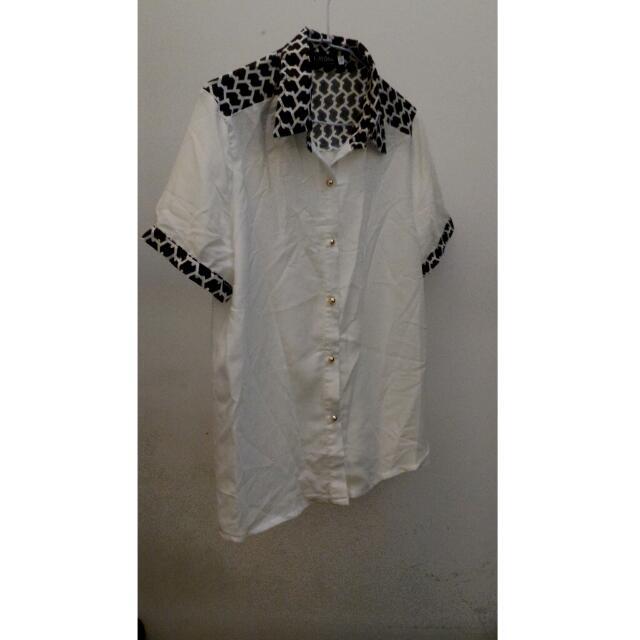 白色雪紡短袖襯衫