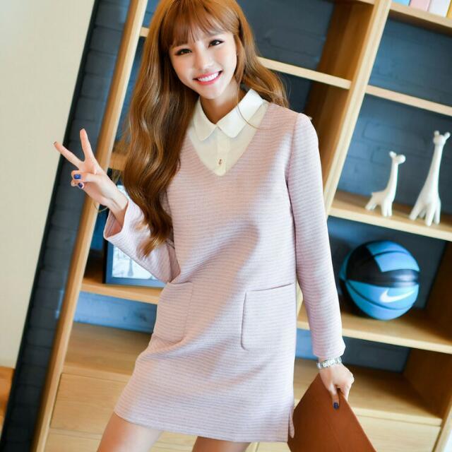 秋冬季韓版新款假兩件寬鬆顯瘦甜美洋裝