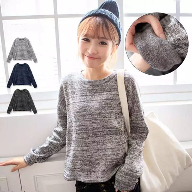 韓版 圓領寬鬆顯瘦打底針織上衣