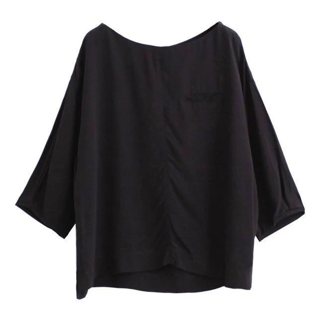 雪紡寬鬆設計感上衣 七分袖 黑 簡約