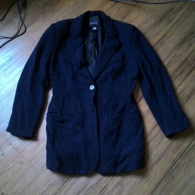 limited西裝外套 休閒 皺摺感 黑色 單扣