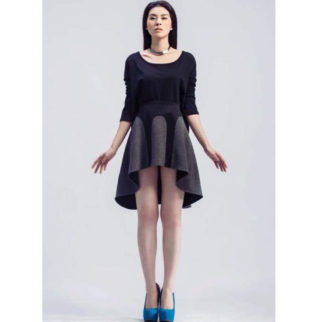 台灣設計師品牌 CHUN TING LIU 拼接雙色波浪裙