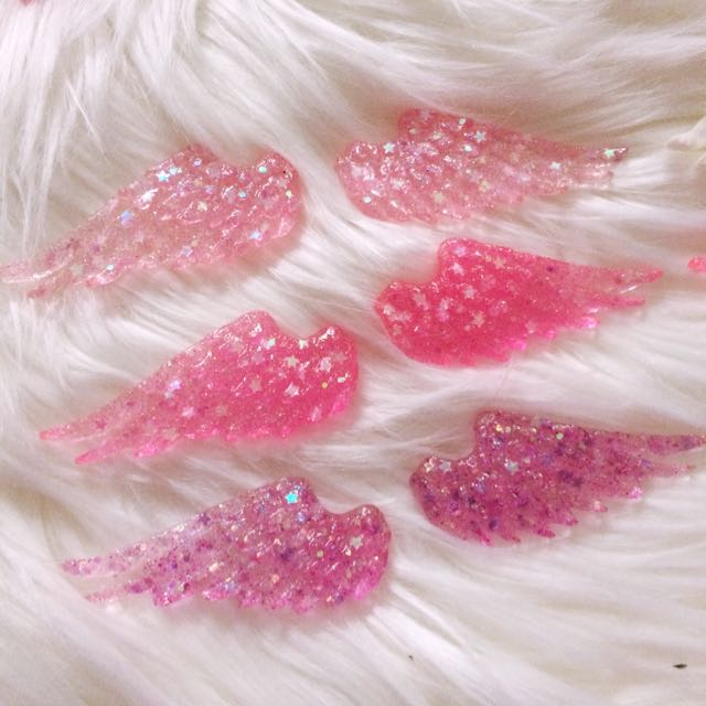 ALL(12) $12 Pastel GLITTER Angel Wings Resin Charms