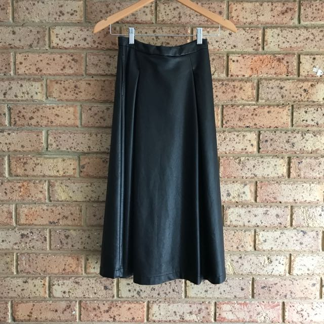 Bardot Faux Leather Midi Skirt With Pockets