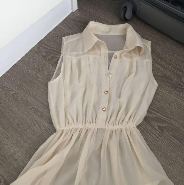 Beige Hi-low Dress