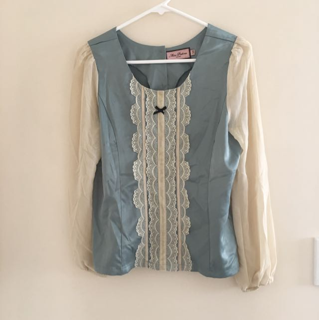 Blue And Ivory Blouse