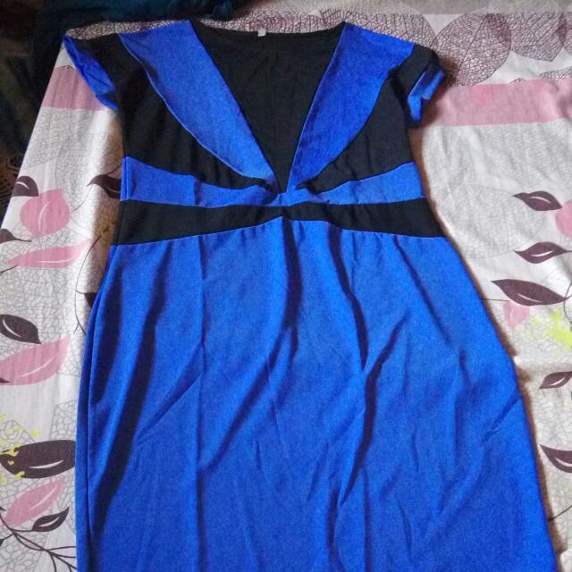 Blue cut out dress
