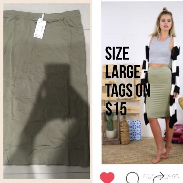 Brand New Khaki Midi Skirt