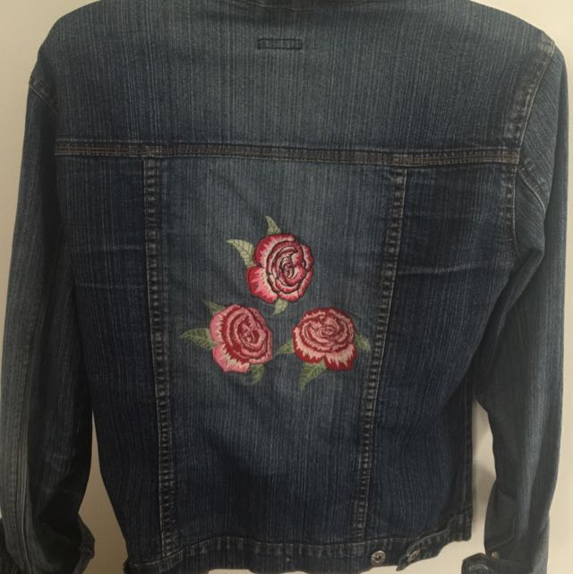 Denim Embroidered Jacket Sz S-M