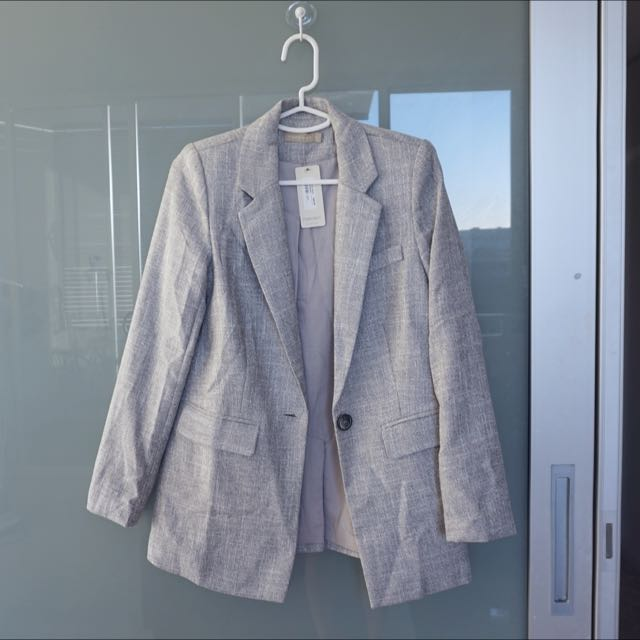 Forcast Grey Boyfriend Blazer