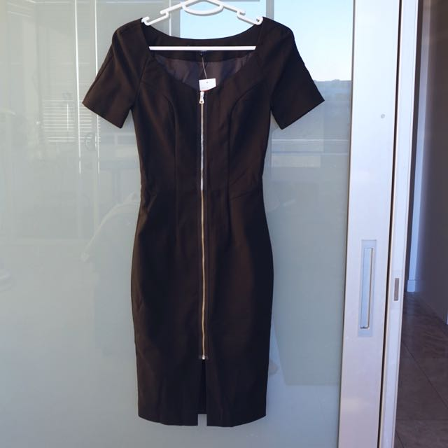 French Connection Black Midi Dress Size 6