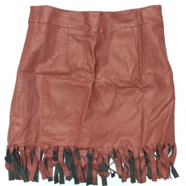 Leather Maroon Skirt