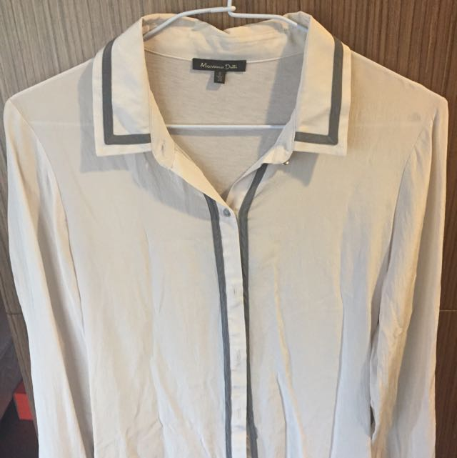 massimo dutti 白色絲質襯衫