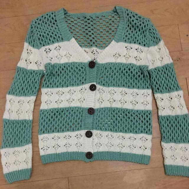 Mint Green And White Knot Cardigan