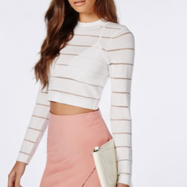 Missguided Sheer Stripe Crop Top