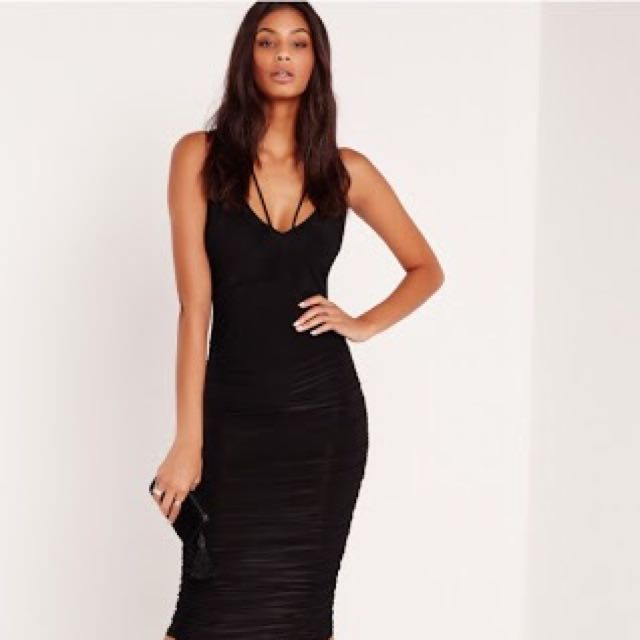 MISSGUIDED Slinky Ruched Midi Dress