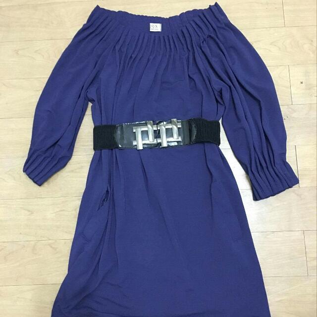 Navy Blue Stretch Dress With Belt