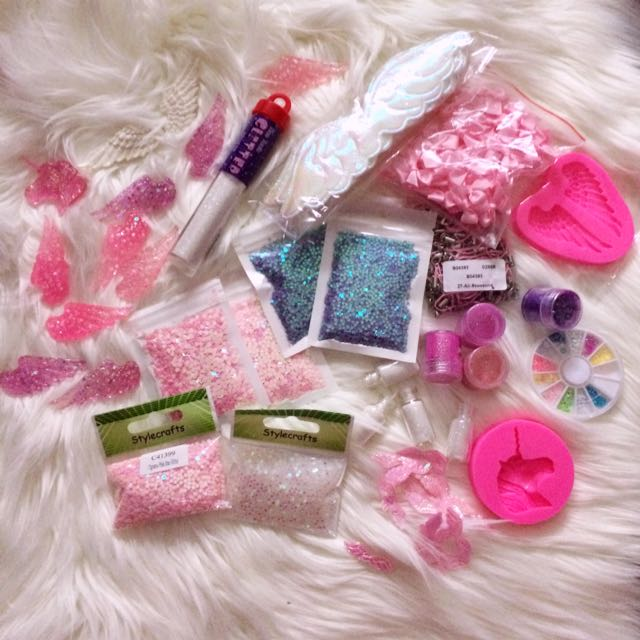 PASTEL GLITTER PACK CRAFT HOLOGRAPHIC MOLDS CONFETTI RIBBON UNICORN
