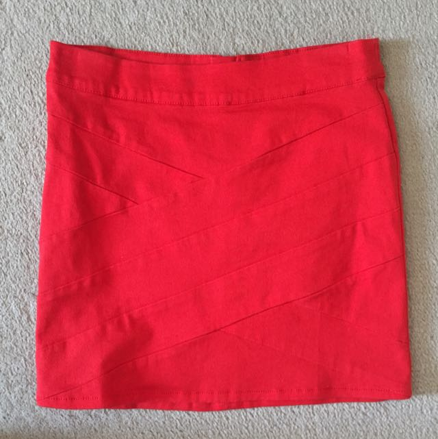 Red Mini Skirt -size 8