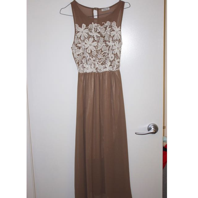 Sheer Long Dress With Floral Crotchet Detail