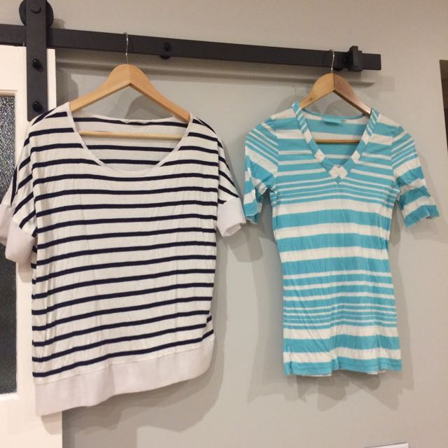 Striped T Shirts - Seed, Blue Illusion