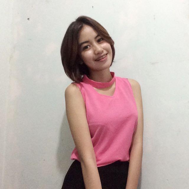 pink neckline dress