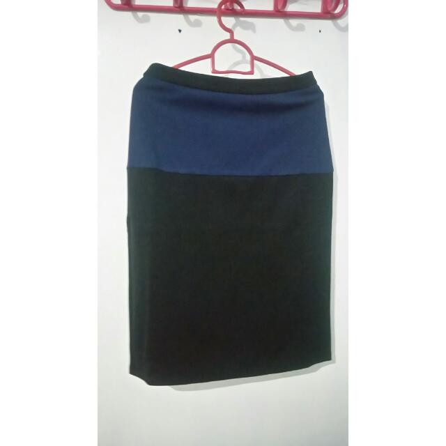 Two Color Midi Skirt