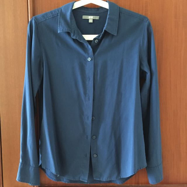Uniqlo Dark Blue Rayon Shirt