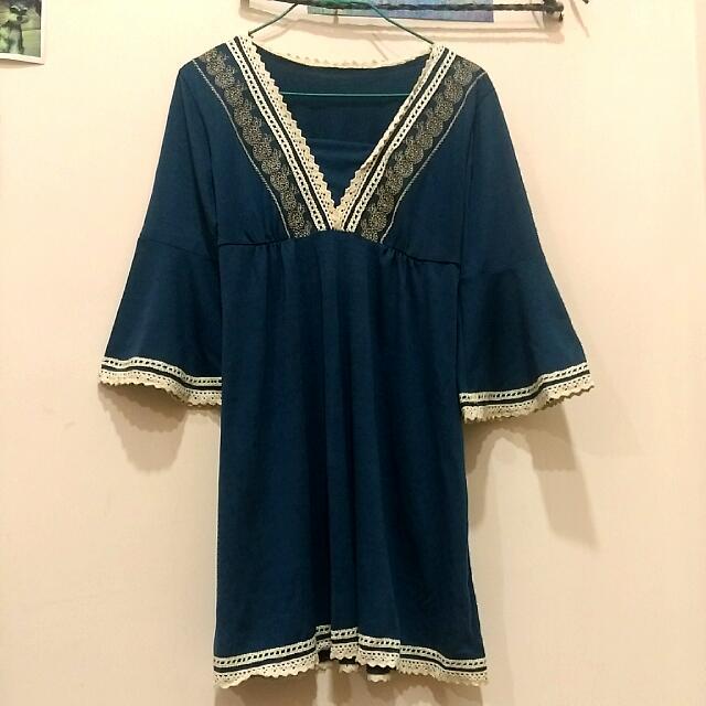 靛藍寬袖v領洋裝