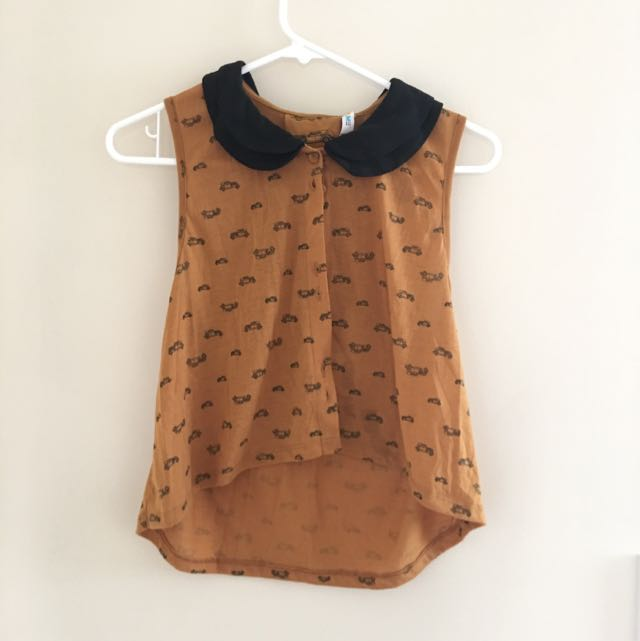 Vintage Car Mustard Crop Top
