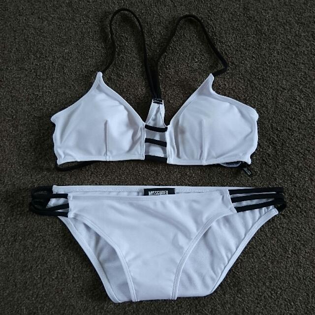 White & Black Bikini Set