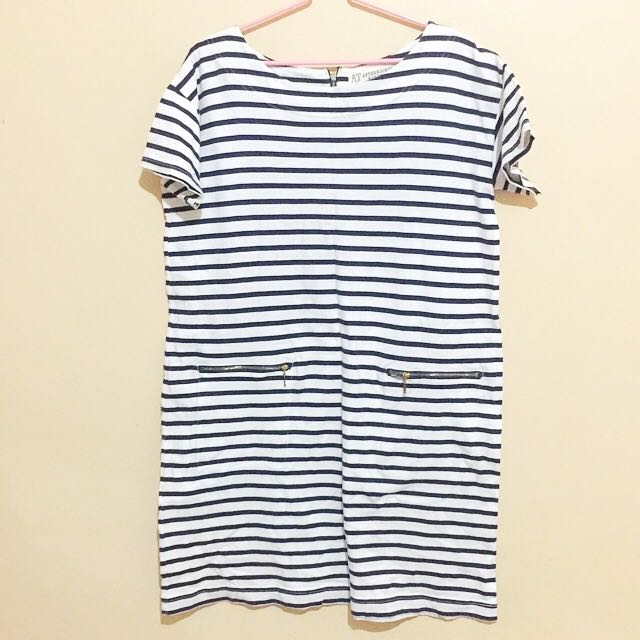 White and dark blue stripes dress