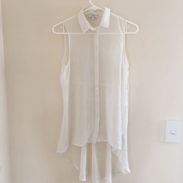 White Chiffon Asymmetrical Blouse
