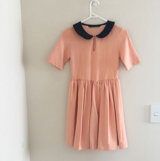 Zara Coral And Navy Collared Dress