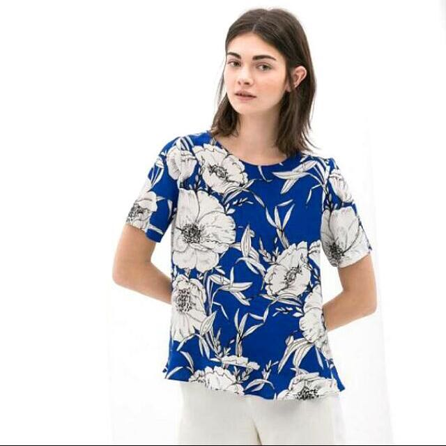 6e3c8945b1f Zara Inspired Blue White Floral Flowers Blouse Top Shirt