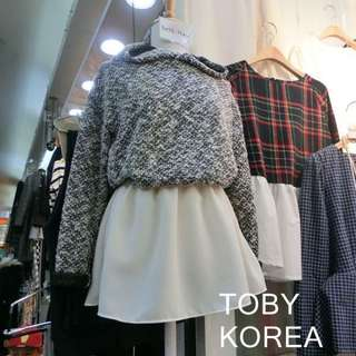 ✨正韓✨假兩件式洋裝