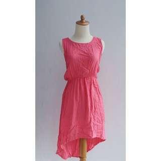 / Pink Asymmetric Dress /