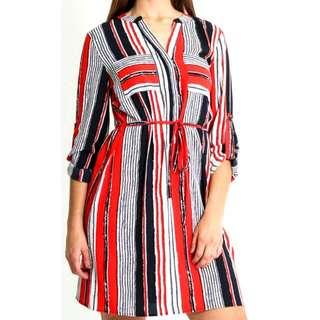 TEXTURED CDC NAUTICAL SHIRT DRESS size 6 Pagani