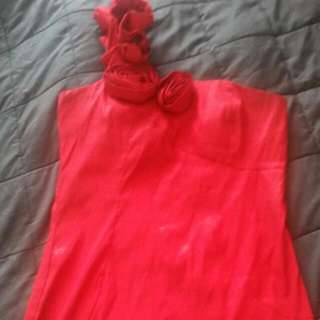 Red Rose Strap Dress