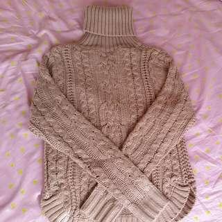 Dotti Turtle Neck Knit Beige Pink Jumper Size XS
